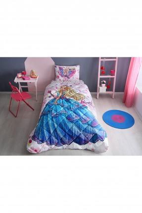 طقم لحاف سرير بناتي مع رسمة باربي- وردي