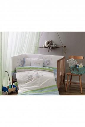 طقم غطاء لحاف سرير بيبي ولادي - ازرق