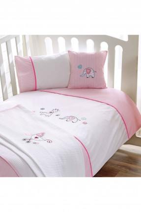 طقم غطاء سرير بيبي بناتي - وردي