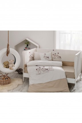طقم غطاء سرير بيبي مع رسمة - بيج