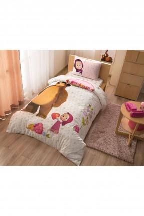طقم غطاء سرير اطفال بناتي - ماشا و الدب