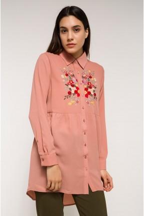 قميص نسائي مطرز - وردي