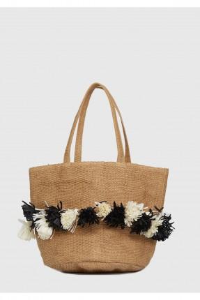 حقيبة يد نسائي قش مزينة شرشبة