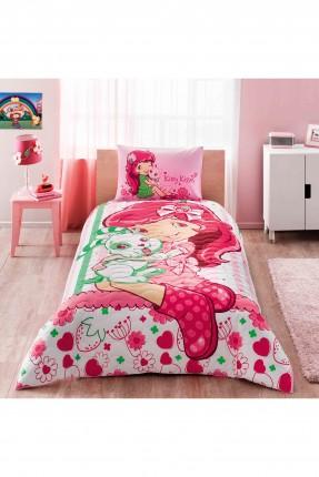 طقم لحاف مبطن سرير اطفال بناتي - ستروبري
