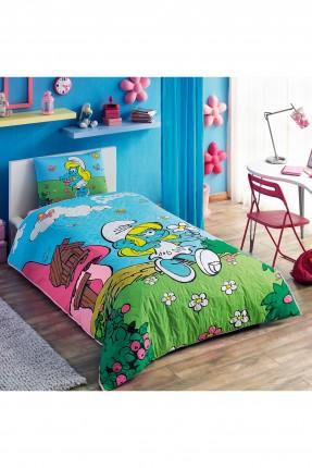 طقم لحاف مبطن سرير اطفال بناتي - سنفورة