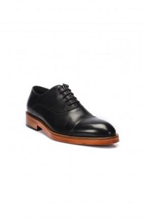 حذاء رجالي جلد طبيعي ومع رباط - اسود