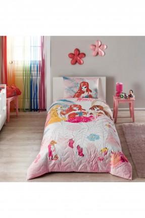 طقم لحاف مبطن سرير اطفال بناتي مع رسمة