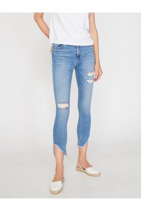 بنطال نسائي جينز ممزق غير منتظم طول سبور