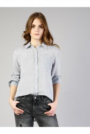 قميص نسائي مخطط كم طويل