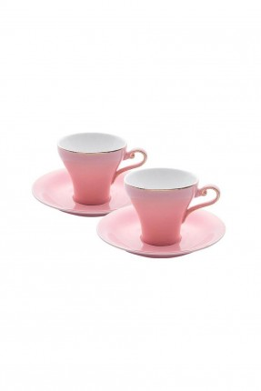 طقم فناجين قهوة / 6 اشخاص - 12 قطعة / وردي