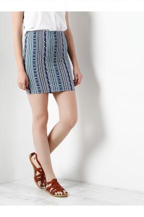 تنورة قصيرة نسائية قماش منقوش