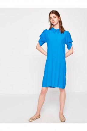 فستان سبور بياقة بولو - ازرق