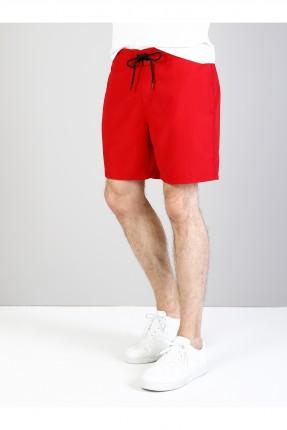 شورت رجالي مع جيب للبحر - احمر