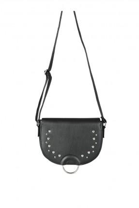 حقيبة يد نسائية مودرن مزينة بقطع معدنية  - اسود