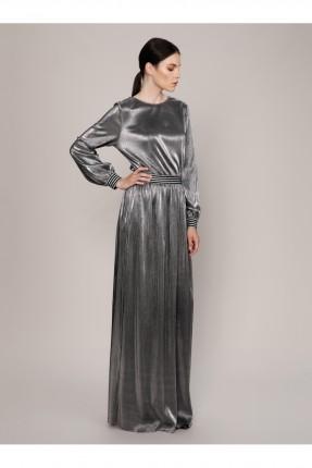 فستان رسمي طويل لامع باكمام طويلة