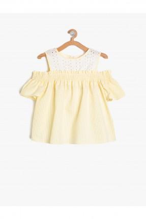 بلوز اطفال بناتي باكتاف مفرغة مقلمة - اصفر