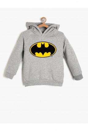 سويت شيرت اطفال ولادي بطبعة باتمان - رمادي