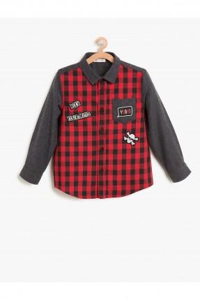 قميص اطفال ولادي كارو بطبعات وجيب جانبي - احمر