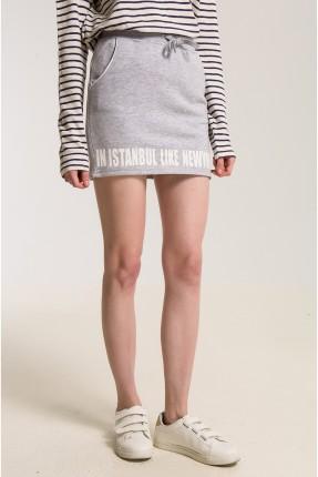 تنورة قصيرة رمادي مع جيوب - رمادي