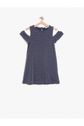 فستان اطفال بناتي حفر مع اكتاف منخفضة - ازرق داكن