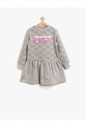 فستان اطفال بناتي منقوش ومطبوع - رمادي