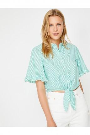 قميص نسائي سبور مقلم معقود من الاسفل - اخضر
