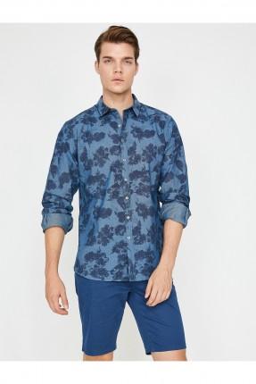 قميص رجالي منقوش سبور - ازرق داكن