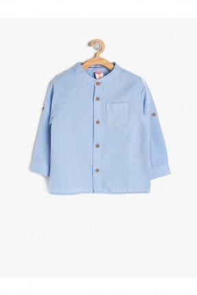 قميص بيبي ولادي بجيب جانبي - ازرق