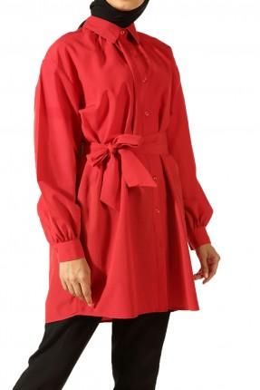 قميص نسائي كاجوال بحزام - احمر