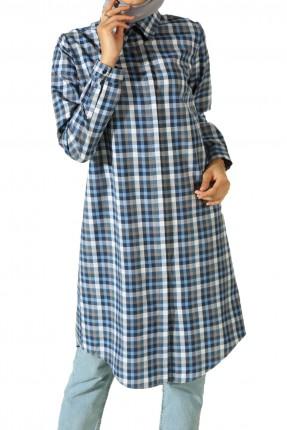 قميص نسائي كاروهات طويل