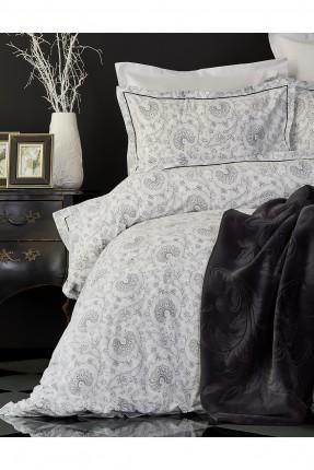 طقم غطاء سرير مزدوج - ابيض و اسود