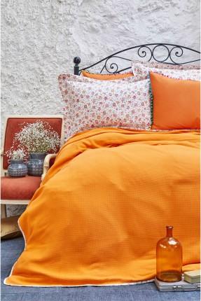طقم غطاء سرير مزدوج  - برتقالي