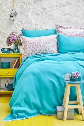 طقم غطاء سرير مزدوج - تركواز