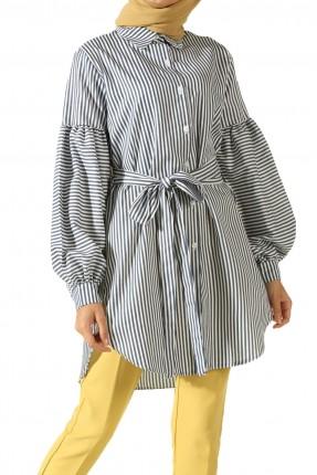 قميص نسائي باكمام منفوخة مع حزام