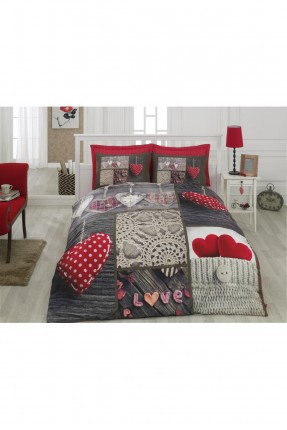 طقم غطاء سرير مزدوج مع رسمة