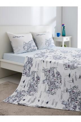 طقم بطانية سرير مزدوج مع رسومات