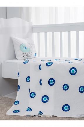طقم بطانية سرير بيبي ولادي - ابيض و ازرق