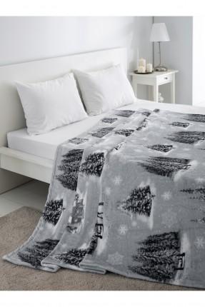 بطانية سرير مزدوج - رسمة كوخ