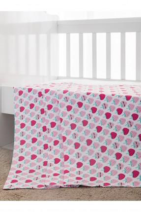بطانية سرير بيبي بناتي - رسمة فراولة