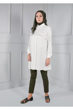 قميص نسائي سبور للمحجبات مع كشكش