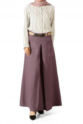 تنورة طويلة مع جيب مناسبة للمحجبات