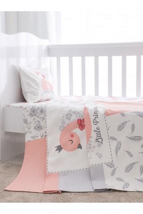 طقم بطانية سرير بيبي بناتي مع رسمة