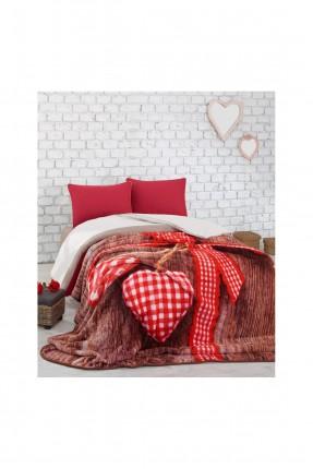 طقم غطاء سرير مزدوج - احمر