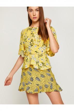 تنورة قصيرة مزخرفة - اصفر