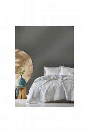 طقم غطاء سرير عرائسي جاكار رمادي
