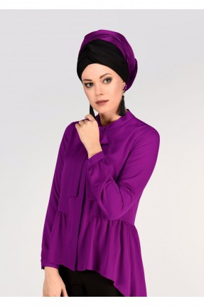 قميص نسائي للمحجبات مع كشكش - موف