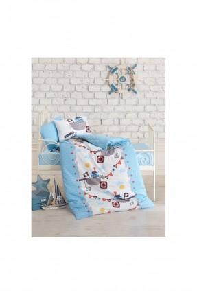 طقم غطاء سرير بيبي ولادي - ازرق