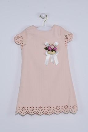 فستان اطفال بناتي مزين ببروش - وردي