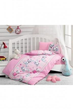 طقم غطاء سرير بيبي بناتي وردي - كيتي