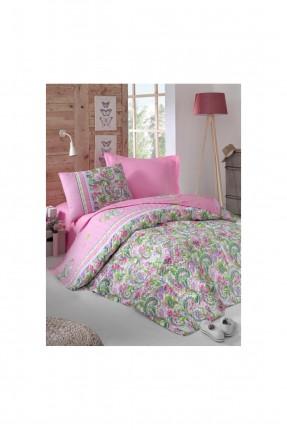 طقم لحاف سرير اطفال بناتي مزخرف - وردي